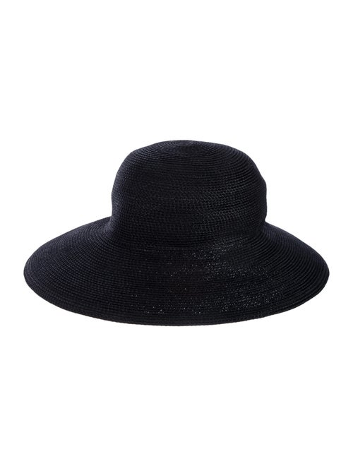 Eric Javits Straw Wide Brim Hat Black