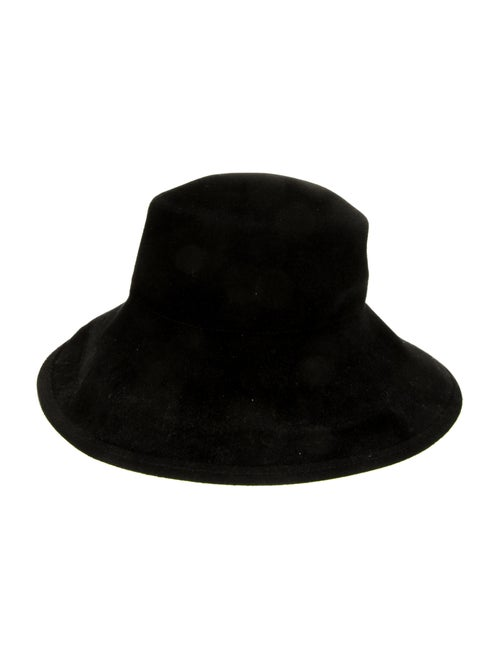 Eric Javits Suede Wide-Brim Hat Black