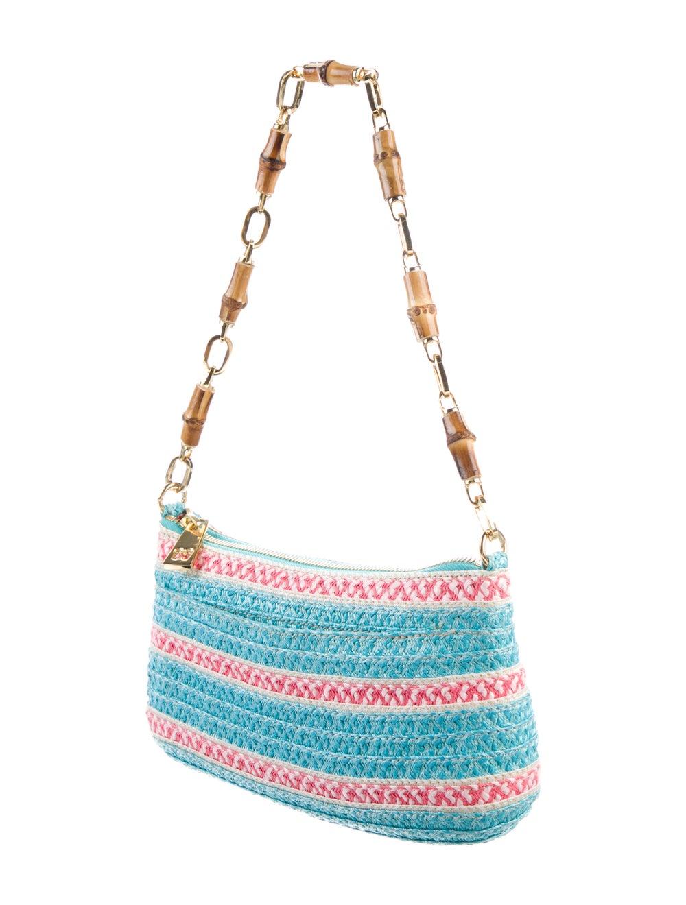 Eric Javits Woven Straw Shoulder Bag Blue - image 3