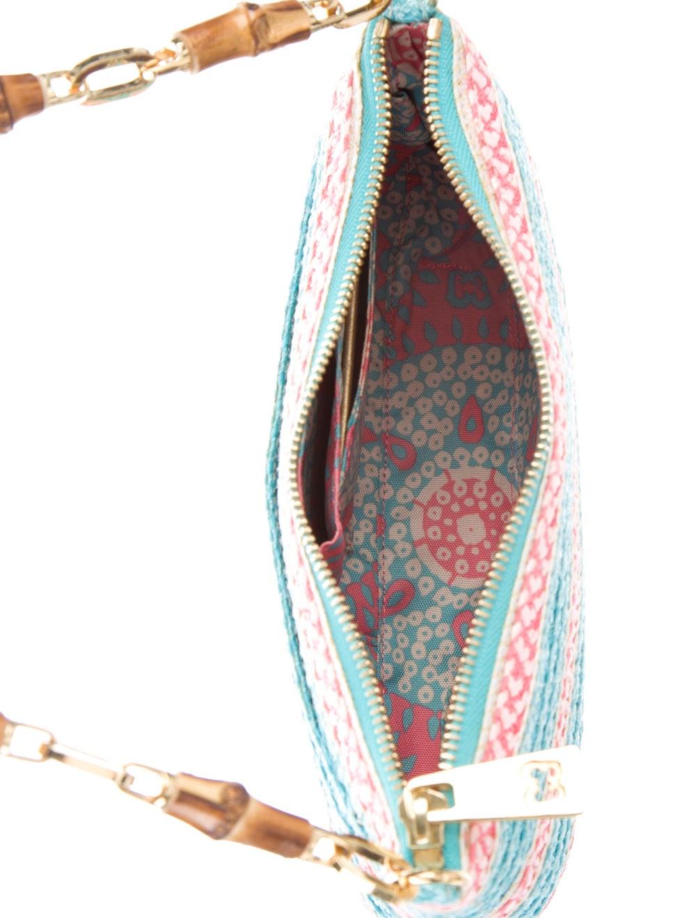 Eric Javits Woven Straw Shoulder Bag Blue - image 5