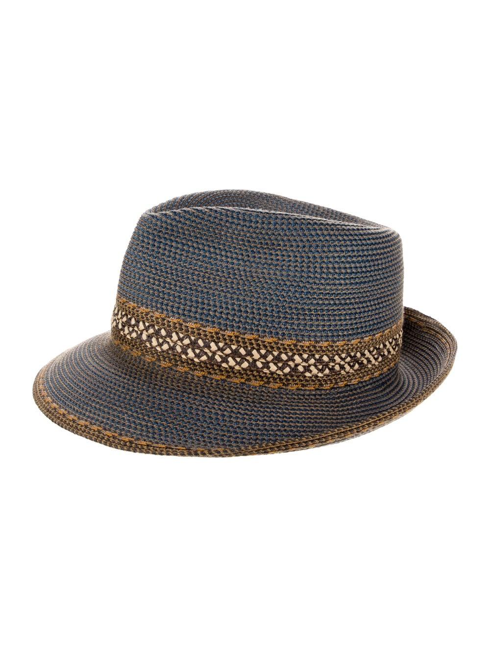 Eric Javits Straw Fedora Hat Blue - image 1