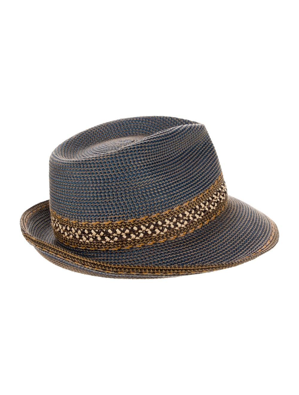 Eric Javits Straw Fedora Hat Blue - image 2