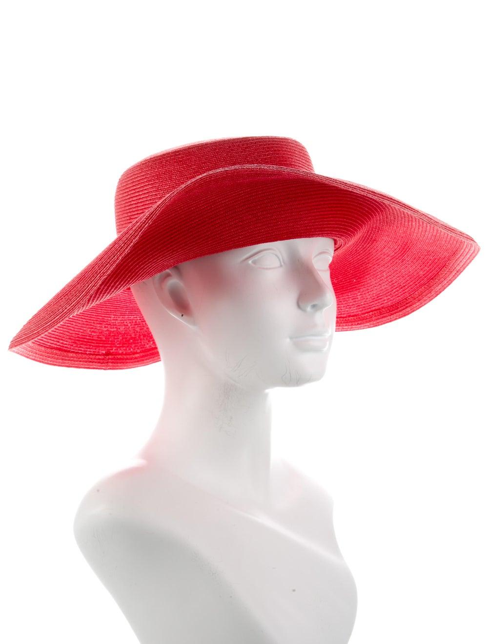 Eric Javits Raffia Wide-Brim Hat Red - image 3