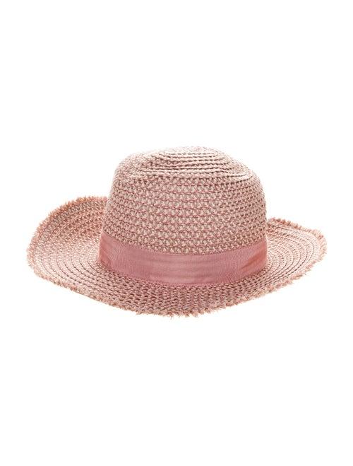 Eric Javits Straw Wide Brim Hat Pink