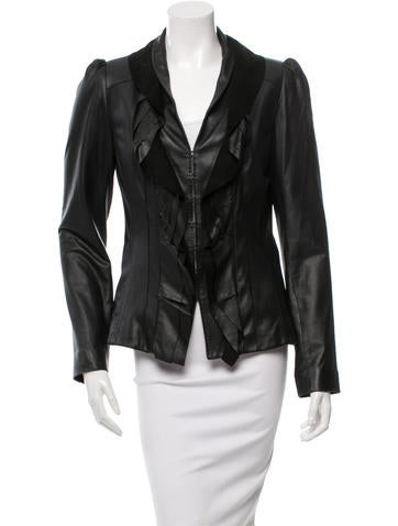 Elie Tahari Leather Cutout Detail Jacket