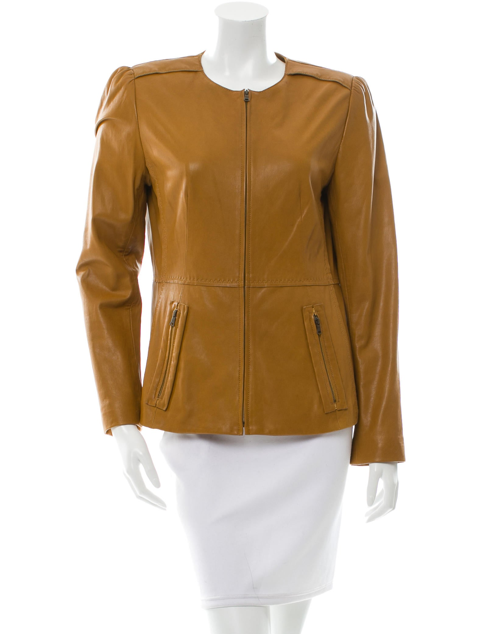 Elie tahari collarless leather jacket clothing for Leather jacket and shirt