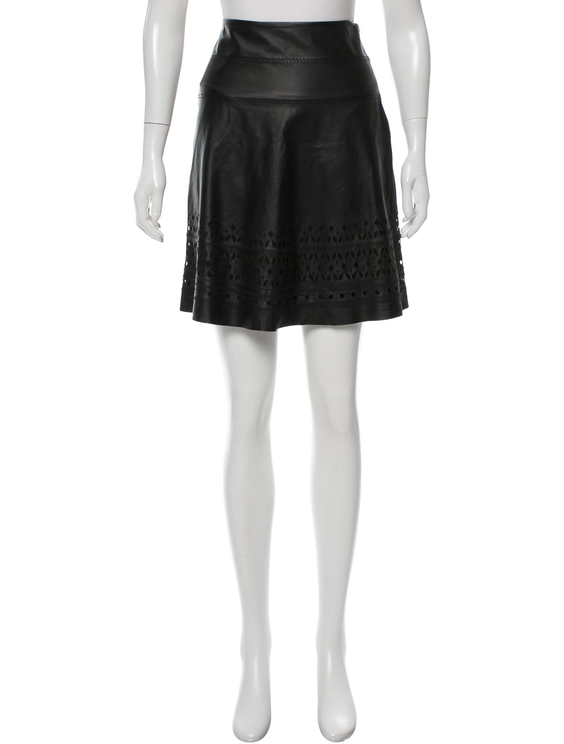 elie tahari laser cut leather skirt w tags clothing
