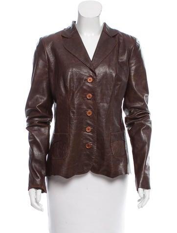 Elie Tahari Button Up Leather Jacket - Clothing - WEL20793 ...