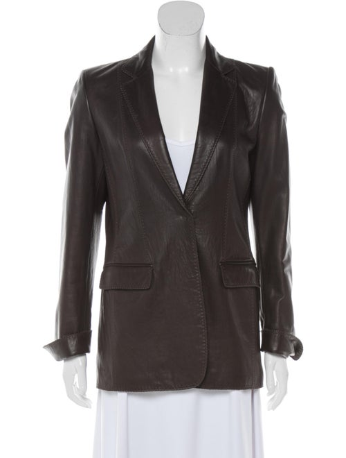 Elie Tahari Leather Blazer Brown