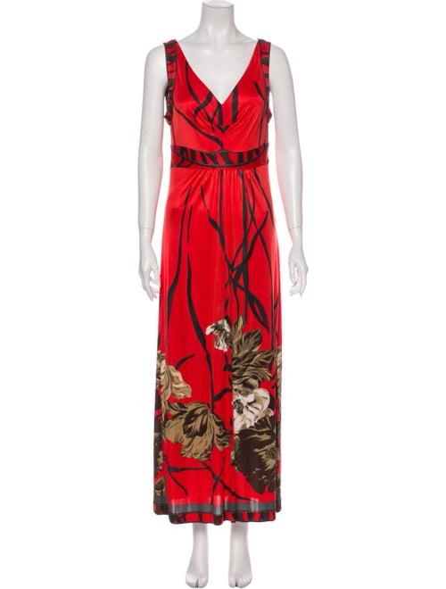 Elie Tahari Printed Maxi Dress Red