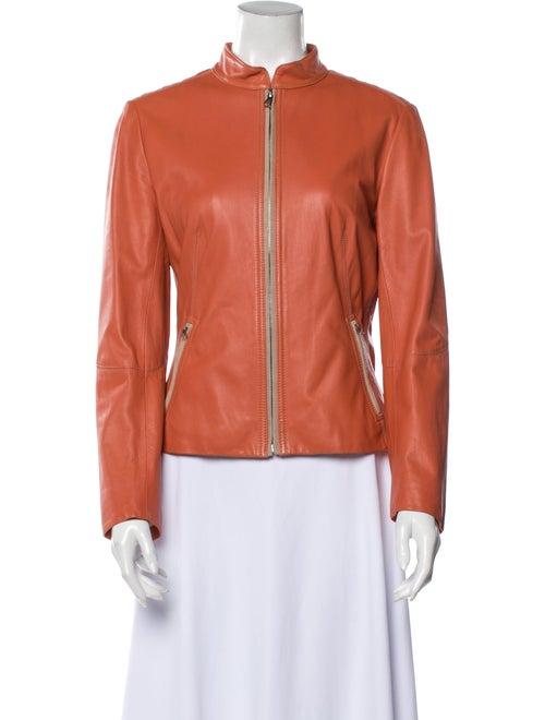 Elie Tahari Leather Biker Jacket Orange