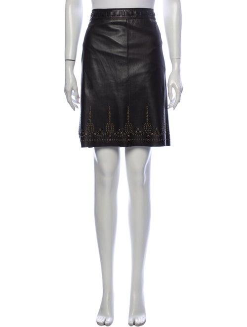 Elie Tahari Leather Long Skirt Brown