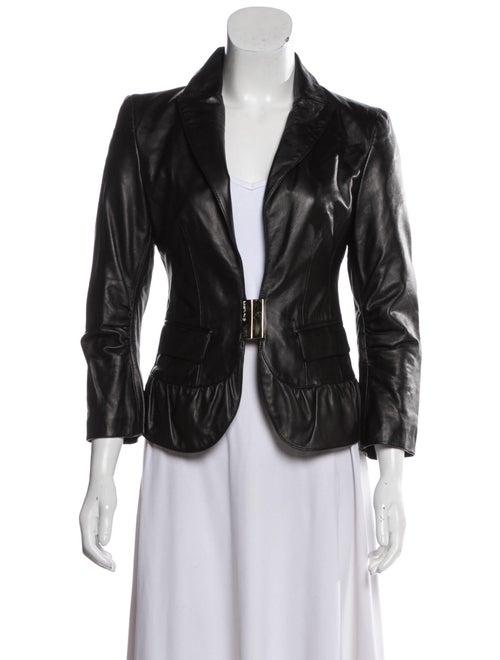 Elisabetta Franchi Leather Blazer Black