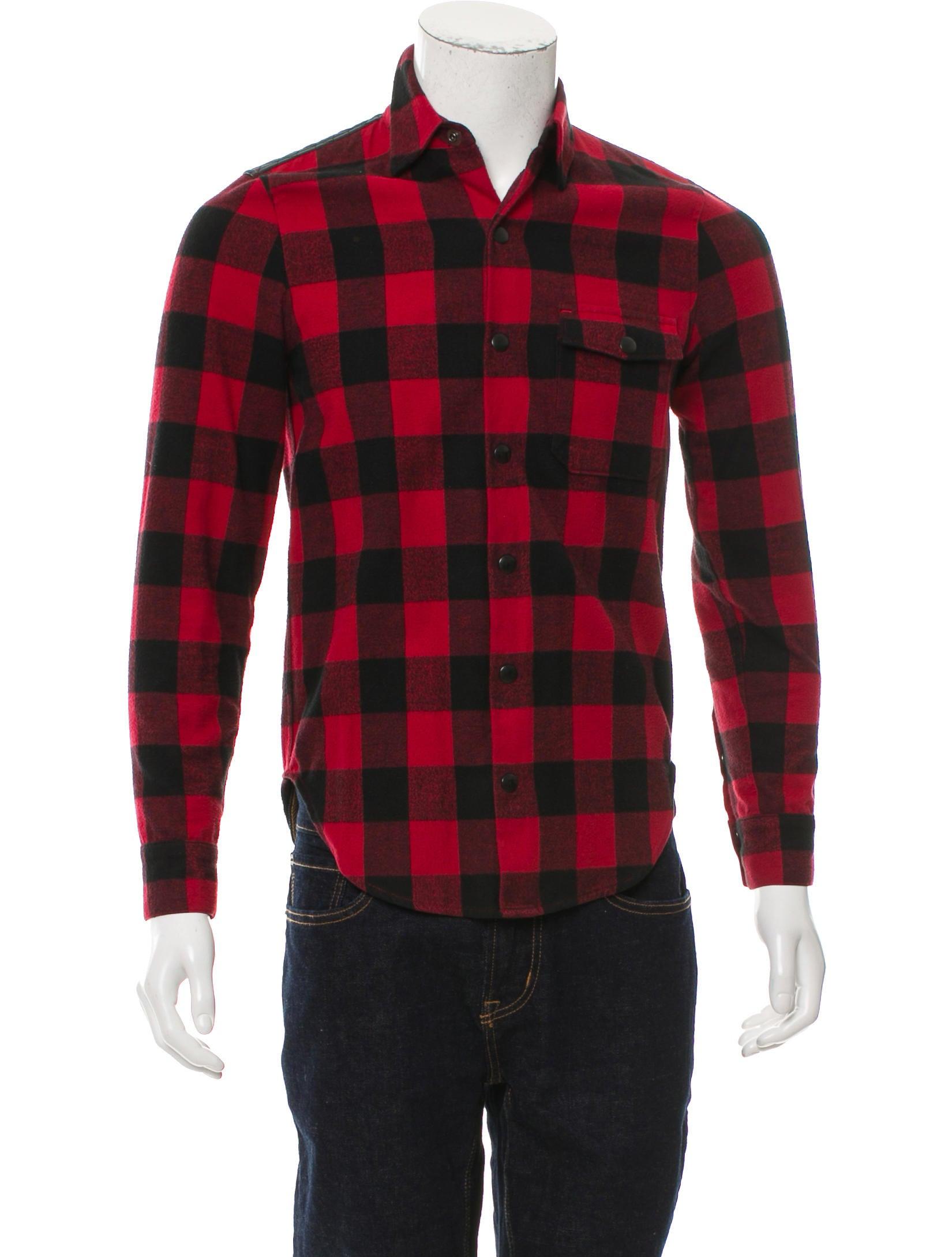 John elliott co buffalo plaid leather trimmed shirt for Buffalo plaid men s shirt