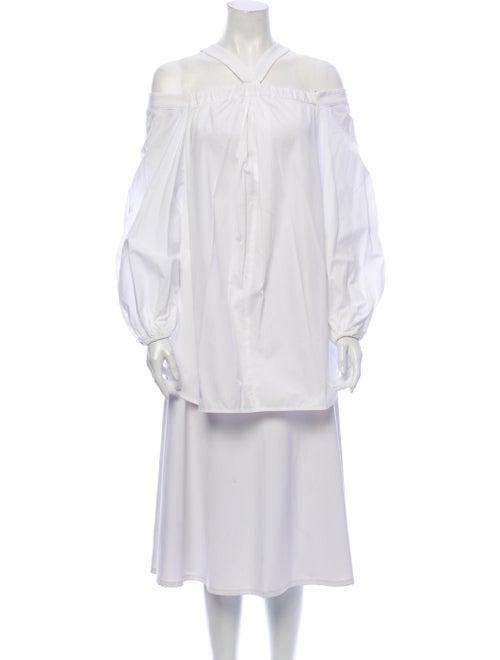 Ellery Halterneck Long Sleeve Tunic White