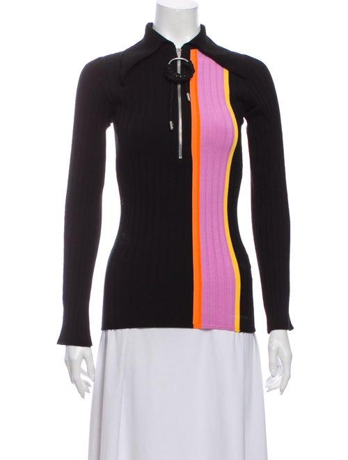 Ellery Striped Mock Neck Sweater Black - image 1