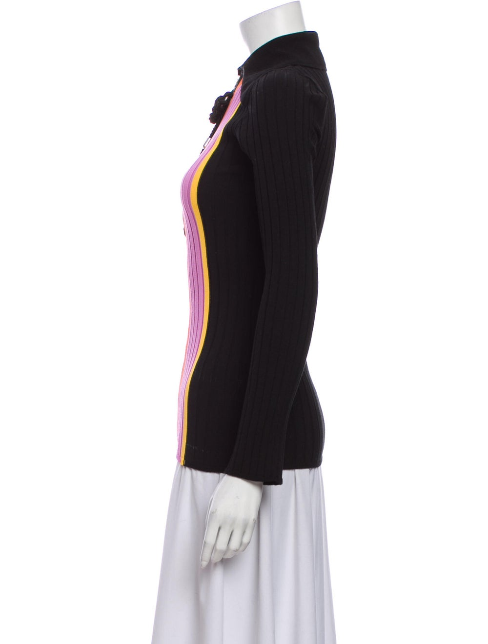 Ellery Striped Mock Neck Sweater Black - image 2