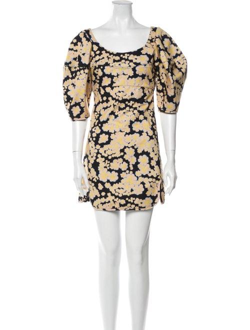 Ellery Floral Print Mini Dress Black