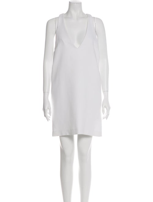 Ellery Plunge Neckline Mini Dress White