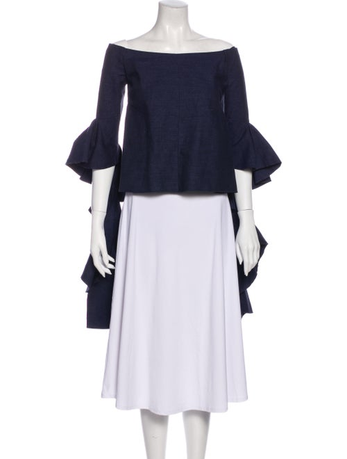 Ellery Linen Off-The-Shoulder Blouse Blue