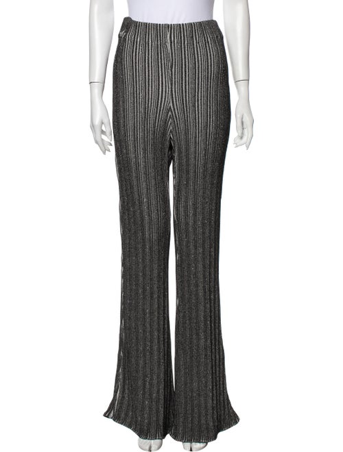 Ellery Striped Wide Leg Pants Black