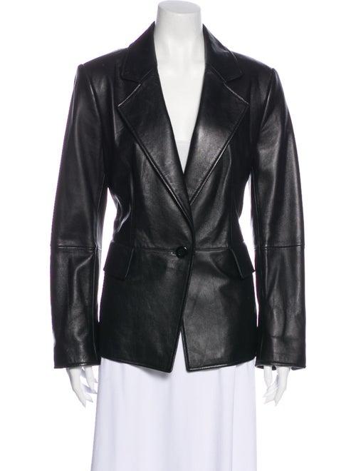 Ellen Tracy Leather Blazer Black