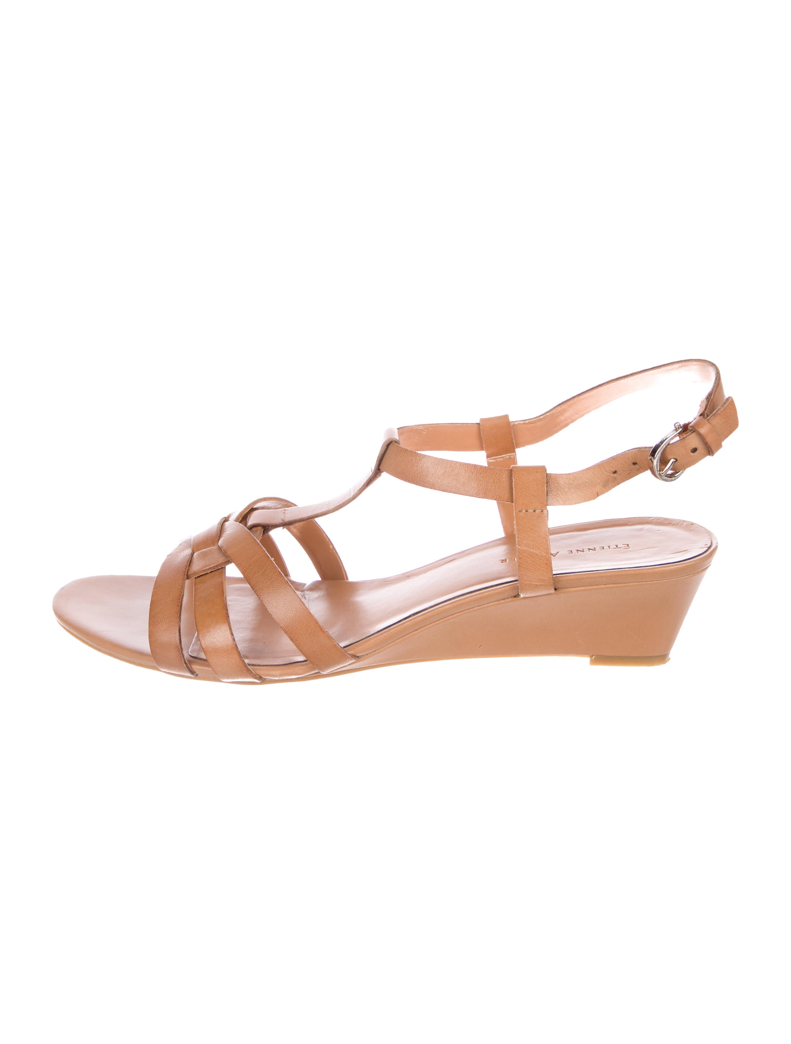 2829bd4306aa5 sale great deals Etienne Aigner Leather Wedge Sandals free shipping real  J7U0SiuzW