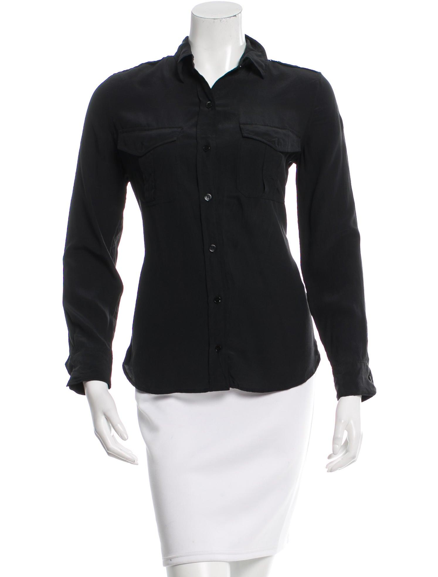 Equipment black silk button up clothing weq31583 the for Equipment black silk shirt
