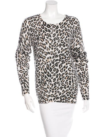 Equipment Cashmere Leopard Print Sweater None