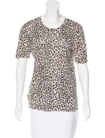 Equipment Silk Leopard Print Top None