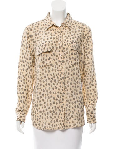 Equipment Cheetah Print Silk Top