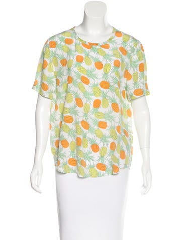 Equipment Pineapple Print Silk Top
