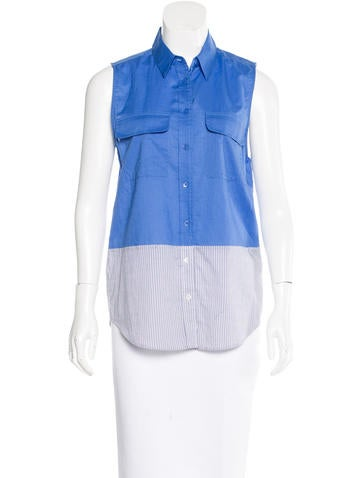 Equipment Sleeveless Button-Up Top