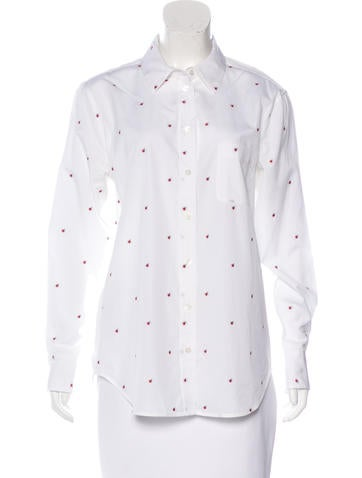 Equipment Embroidered Button-Up Top None