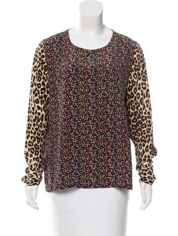 Equipment Silk Print Top None