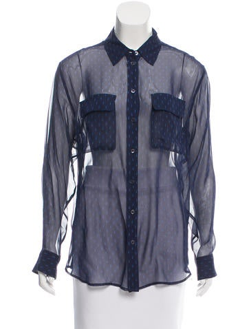 Equipment Printed Button-Up Blouse