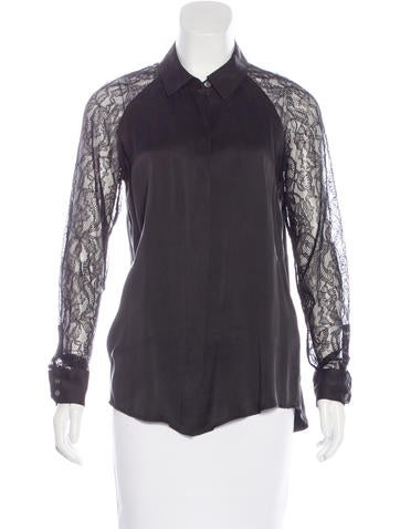 Equipment Lace-Trimmed Silk Top None