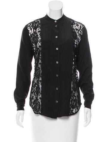 Equipment Lace-Paneled Silk Top None