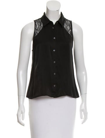 Equipment Lace-Accented Silk Top None