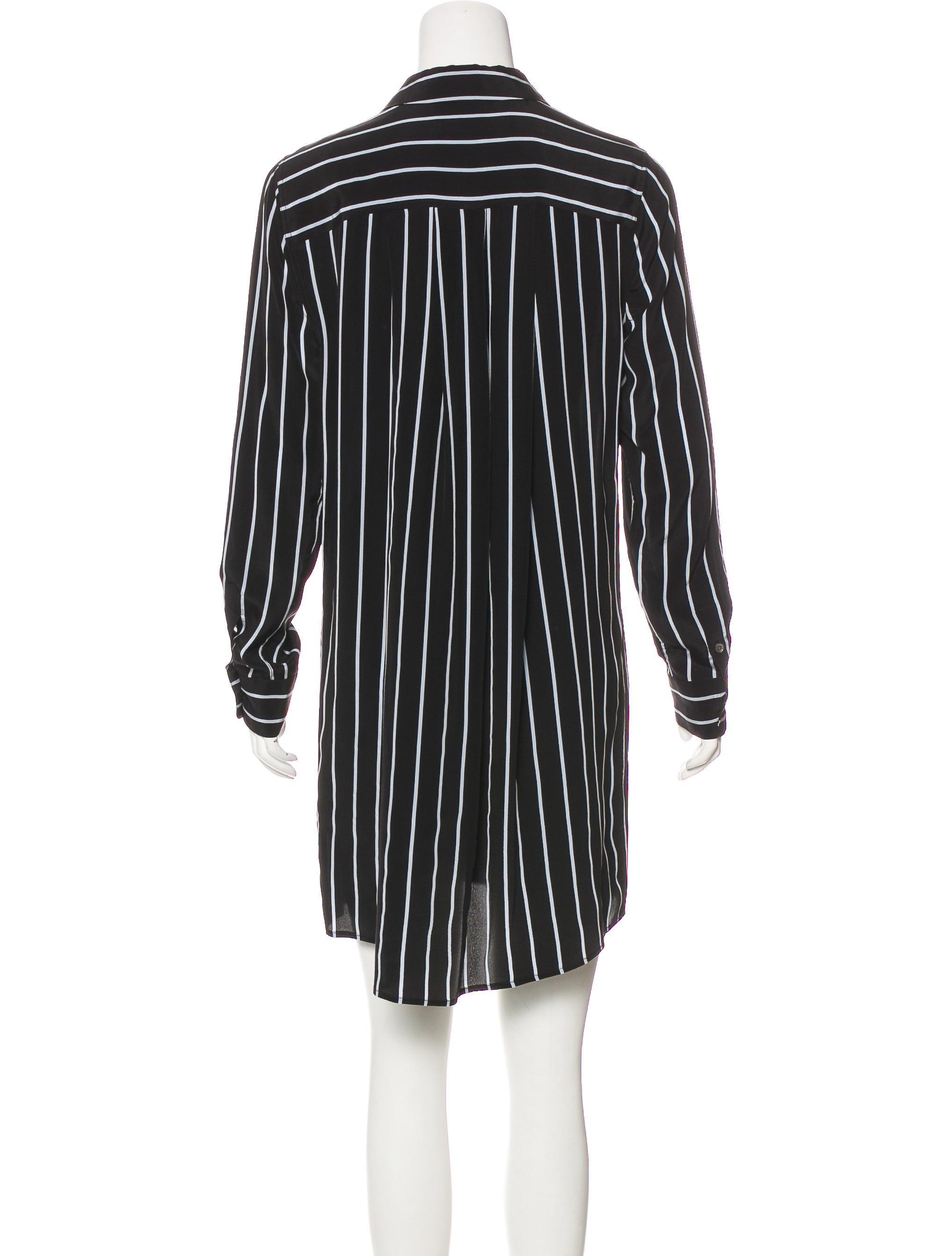 Equipment silk striped dress clothing weq40161 the for Equipment black silk shirt