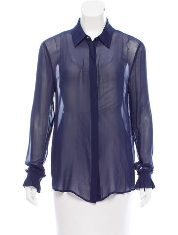 Equipment Silk Button-Up Top None