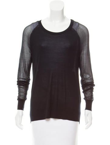 Equipment Silk Mesh-Accented Sweater None