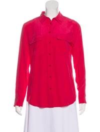Silk Collar Button-Up Top image 1