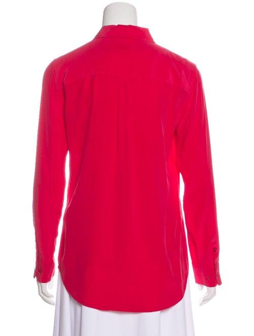 Silk Collar Button-Up Top