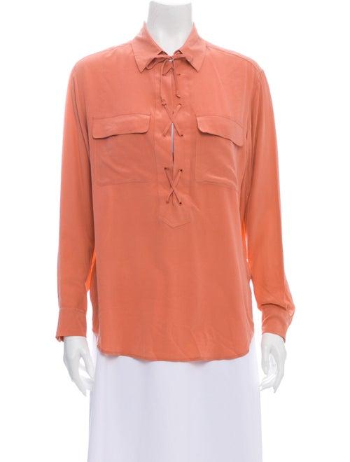 Equipment Silk Long Sleeve Blouse Pink
