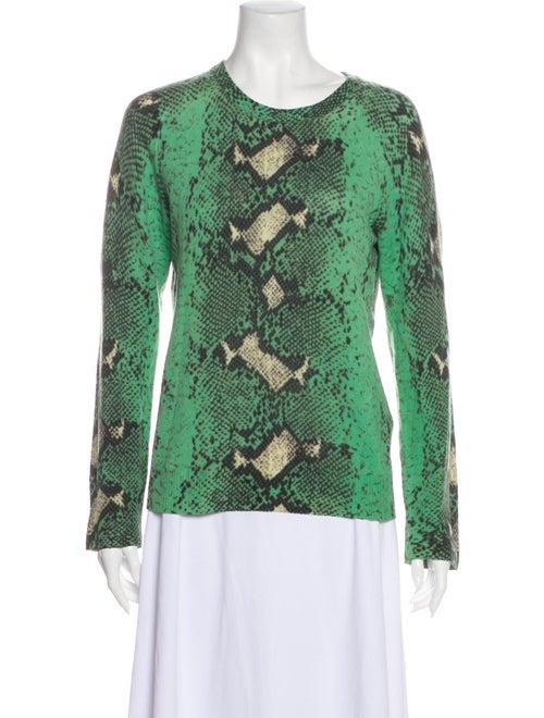 Equipment Cashmere Animal Print Sweater Green