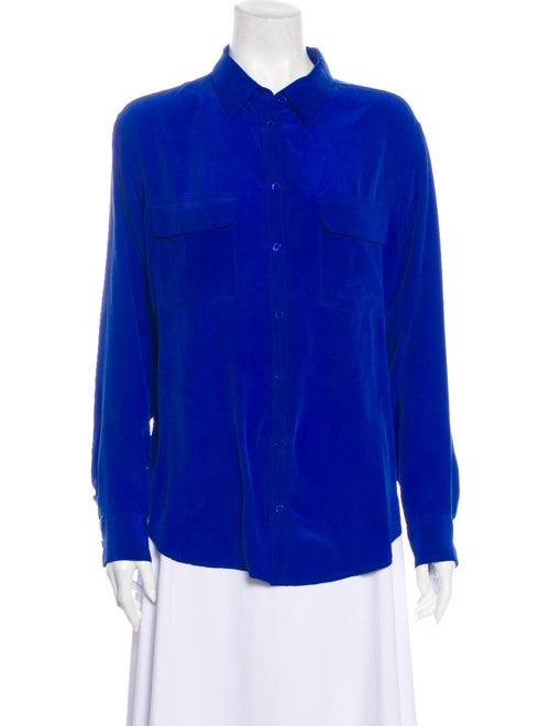 Equipment Silk Long Sleeve Blouse Blue