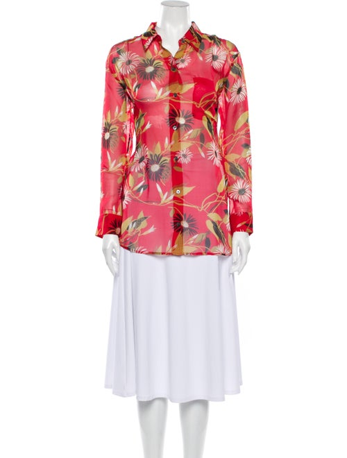 Equipment Silk Floral Print Button-Up Top Red - image 1