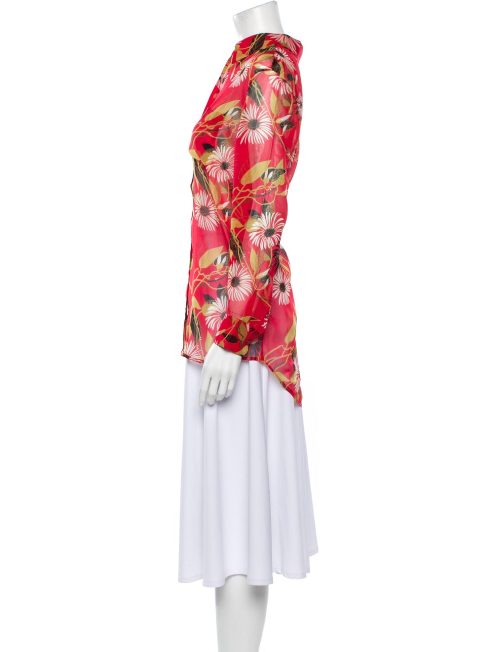 Equipment Silk Floral Print Button-Up Top Red - image 2