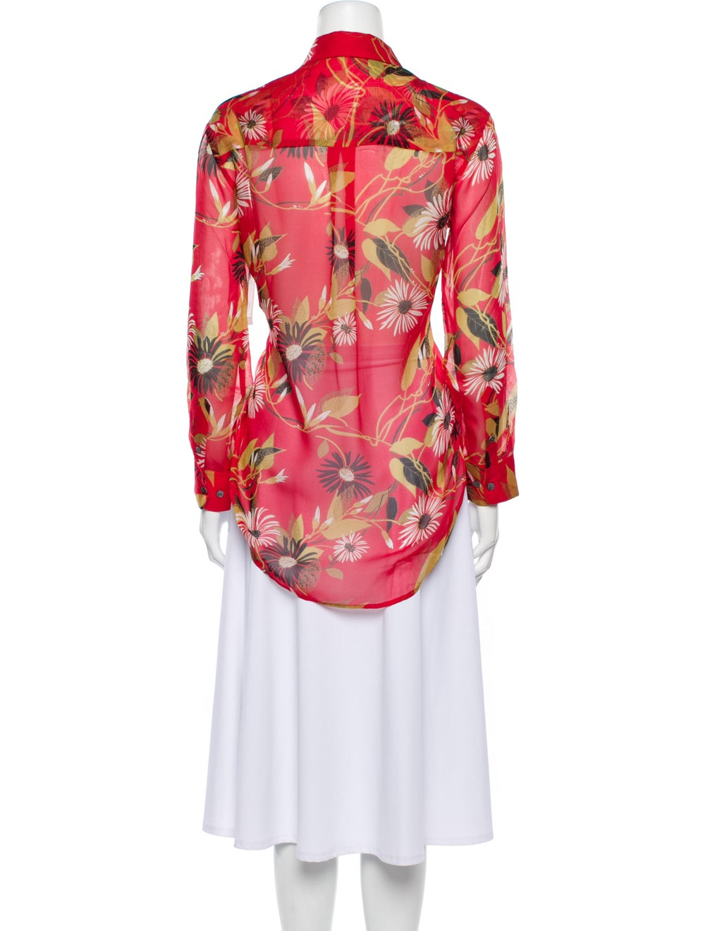 Equipment Silk Floral Print Button-Up Top Red - image 3
